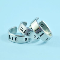 big sis/mid sis/ lil sis - Hand Stamped Ring Set, Forever Sisters Rings, Personalized Gift - US