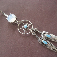 Dream Catcher Belly Button Ring Turquoise Beaded Dangle Navel Piercing