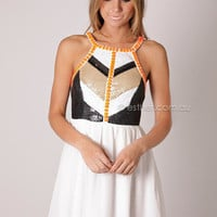 PRE ORDER toni sequin detail cocktail - white/beige/black with orange arrives 15th nov at Esther Boutique