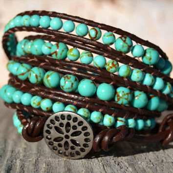 Turquoise leather wrap bracelet - Five wrap beaded bracelet - Turquoise beads on brown leather