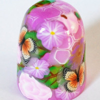 Handmade Orange Butterfly Pink Thimble Rose Petunia Purple Flowers