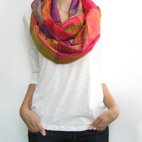 Pashmina infinity scarf, colorful paisley loop scarf, multiple options shawl