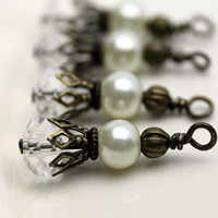 Vintage Style Multifaceted Clear Rondelle Crystals and White Pearl Earring Dangle Necklace Charm Drop