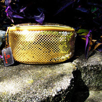 vintage gold metallic MESH fanny pack. by Comeco dead stock. NWT. belt pouch. fall fashion