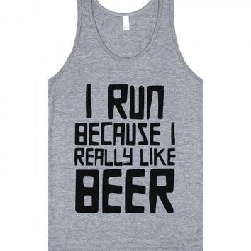 Run For Beer-Unisex Athletic Grey Tank