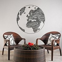 Wall Decals Earth Planet World Map Office Dorm Decor Wall Vinyl Decal Stickers Bedroom