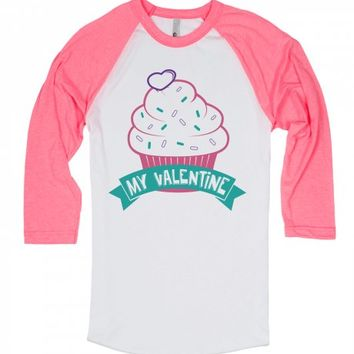 Cupcake Valentine-Unisex White/Neon Heather Pink T-Shirt