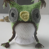 Green & Brown Owl Hat, 0-6 Month Size Owl Hat, Crochet Owl Earflap Hat