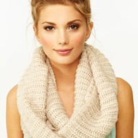 Metallic Infinity Scarf - Cream