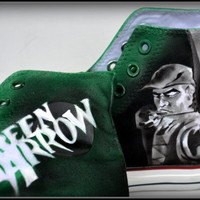 """Painted Mens Shoes, Painted Shoes, """"Cupid"""" Shoes, Painted Converse, Mens Converse, Green Arrow,Cupid, Custom Sneakers, Oliver Quinn"""
