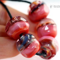 Gypsy Coral Handmade Glass Lampwork Beads by radiantmind