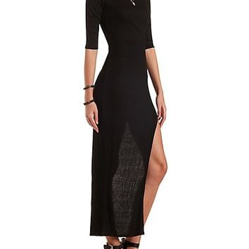 Extreme Side Slit Maxi Dress by Charlotte Russe - Black