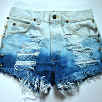 WILDHEARTS Vintage Spike STUDDED High Waisted Denim Shorts OMBRE Two-Tone Bleached S