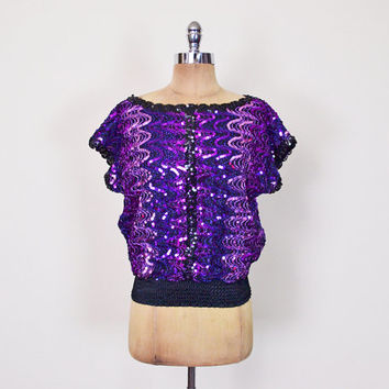 Vintage 70s 80s Purple Ombre Sequin Blouse Sequin Top Sequin Shirt Slouchy Dolman Sleeve Batwing Sleeve 70s Disco Blouse Cocktail Party S M