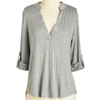 ModCloth Mid-length 3 Fundamentals of Style Top in Grey