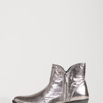 Distressed Metallic Ankle Boots - Pewter /