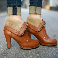 2way Fashion Women Shoes Brown Chunky High Heel Platform Fur Ankle Boots US8