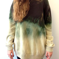 Hand-Dyed Bleached Cotton Sweater in Green and Pale Yellow Ombre