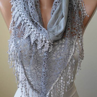 Grey Scarf with Lace Trim Edge Edge - Cotton and Lace Fabric