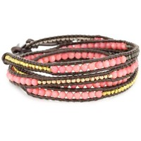 Chan Luu Salmon Coral and Plated Beads On Tamba Leather Wrap Bracelet - designer shoes, handbags, jewelry, watches, and fashion accessories | endless.com