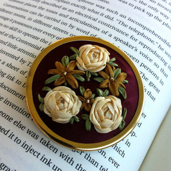Red and Copper Embroidered Rose Brooch - Silk Ribbon Embroidery by BeanTown Embroidery