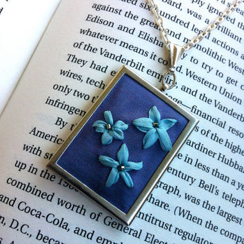 Blue Embroidered Flower Pendant, Beaded - Silk Ribbon Embroidery By BeanTown Embroidery