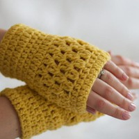 Mustard Yellow Crochet Wrist Warmer.. on Luulla