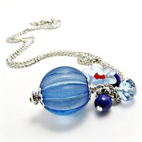 Blue Lucite Necklace W/ Lapis- Blue.. on Luulla