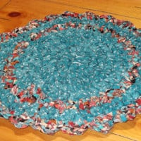 Chili Pepper Rag Rug w/ Scalloped Edging 15 1/2 by Ragz2Rugs