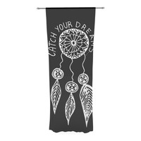 """Vasare Nar """"Catch Your Dreams Black"""" White Typography Decorative Sheer Curtain - 30"""" x 84"""""""