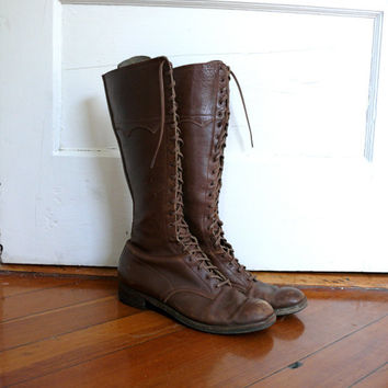 vintage 1920s leather boots combat lace from lonepony on etsy