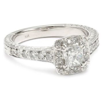 "Kobelli ""Je t'aime"" Round Diamond Engagement Ring ( 3/ 4 cttw, HI/ I1-I2) - designer shoes, handbags, jewelry, watches, and fashion accessories 