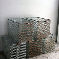 RESERVED set of five wire industrial baskets by everyeskimo