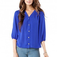 Crosby Blouse in Cobalt - ShopSosie.com