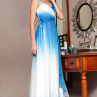 Grecian Blue and White V Neck Prom Formal Evening Dress
