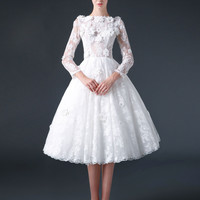 Modest Knee Length Lace Wedding Dress with Flowers | CC3007