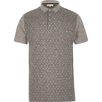 River Island MensGrey textured print front polo shirt