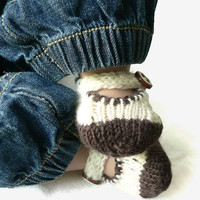 Brown and cream knitted merino wool baby bootie
