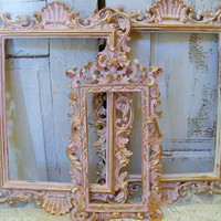 Vintage pink ornate frame grouping shabby cottage wood wall decor with touch of gold Anita Spero