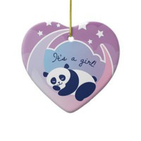 "Sleeping panda ornament ""Its a girl"" from Zazzle.com"