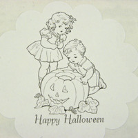 36 Halloween Stickers Personalized Large Scalloped Design Favor Bag Seals