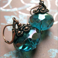Teal Faceted Glass Earrings with Antiqued Copper - Shy Siren