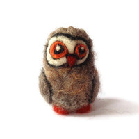 Owl Sculpture, Needle Felted Primitive Folk Great Grey Owl Soft Sculpture - 'Bertie'