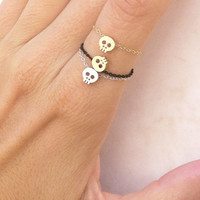 Tiny Skull Ring Chain Ring Tiny Skull Chain Ring