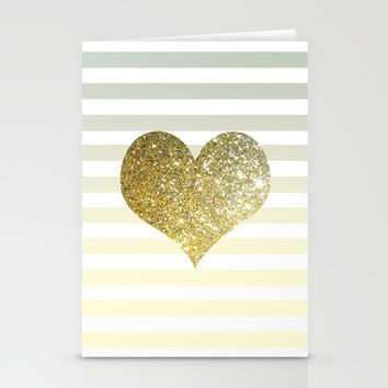 GLITTER GOLD HEART Stationery Cards by Colorstudio