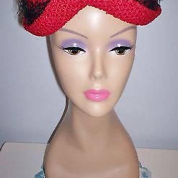 Charming Vintage Women's Red Dress Hat Fully Lined Clean Veiled Band Size 22 SEE