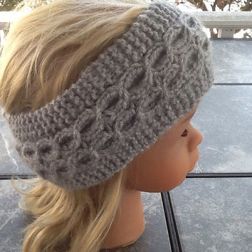 Knitted Headband  - ear warmer - headband - cable knit headband - grey headband - cable  knit - soft headband - unusual cable knit