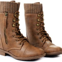JJF Shoes Justina Tan Leatherette Sweater Cuff Lace Up Zipper Mid Calf Ankle Combat Boots-8