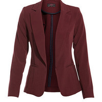 Burgundy Structured Panel Blazer