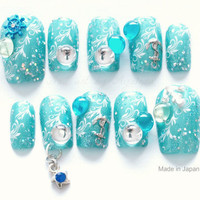 3D nails, mermaid, nail dangling, summer, nautical, Japanese nail art